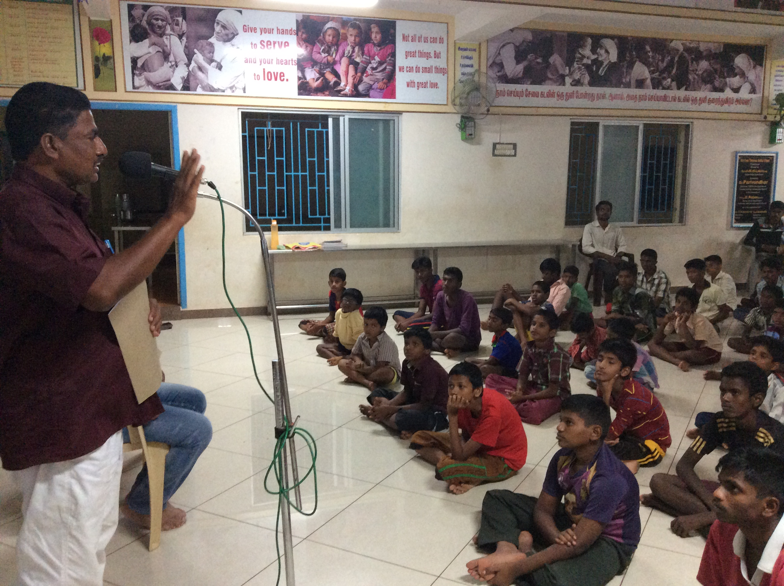 Mr. Pasupathi addressing our Anbu Illam children