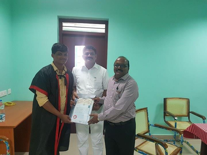 A. Rathish Kumar Foundation children receiving Engineering degree certificate
